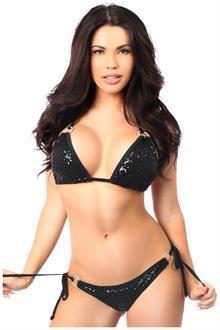 Black Sequin and Rhinestones Pucker Back Bikini