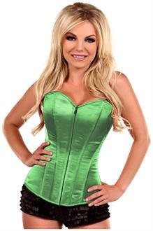 Lavish Green Sweetheart Front Zipper Corset