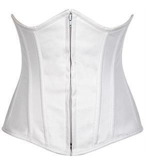 Lavish White Cotton Underbust Corset