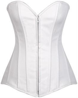Lavish White Cotton Overbust Corset