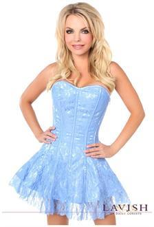 Lavish Pastel Blue Lace Corset Dress