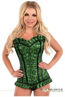 Green Lace Steel Boned Corset