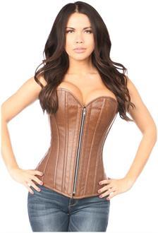 Top Drawer Distressed Brown Faux Leather Steel Boned Corset