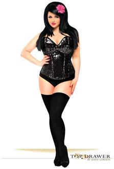 Top Drawer Black Sequin Steel Boned Corset