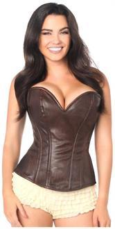 Top Drawer Dark Brown Distressed Faux Leather Steel Boned Corset Top