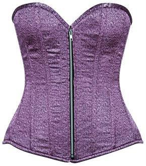 Top Drawer Two-Tone Lavender Brocade Steel Boned Overbust Corset
