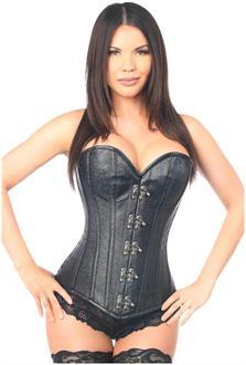 Top Drawer Black Faux Leather Steel Boned Corset w/Clasps