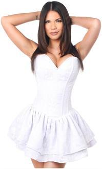 Top Drawer White Lace Steel Boned Ruffle Corset Dress