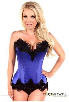 Top Drawer Blue Satin Steel Boned Beaded Corset