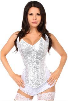 Top Drawer White/Silver Sequin Pointed Top Steel Boned Corset