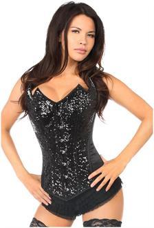 Top Drawer Black Sequin Pointed Top Steel Boned Corset