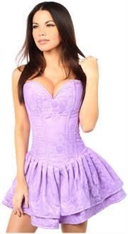 Top Drawer Lilac Lace Steel Boned Ruffle Corset Dress
