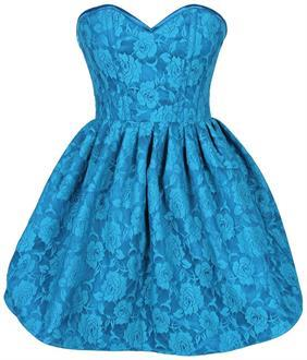 Top Drawer Steel Boned Teal Lace Empire Waist Corset Dress