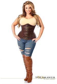 Top Drawer Dark Brown Distressed Faux Leather Underbust Buckle Corset