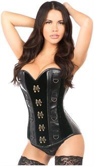 Top Drawer Green Velvet and Faux Leather Steel Boned Corset