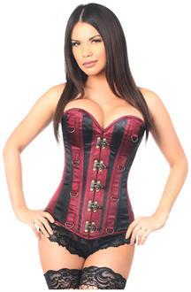 Top Drawer Wine/Black Steel Boned Corset w/Clasps and D-Rings