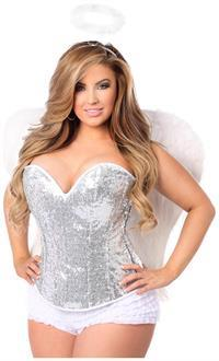 Top Drawer 4 PC Sexy Silver Sequin Angel Corset Costume