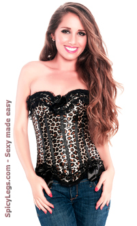 Leopard Print Strapless Corset Top with G-string