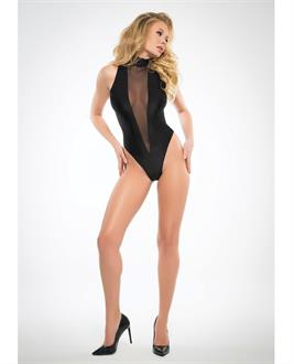 Adore Sheer, Sleeveless Body w/Plunging Front Black