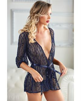 Allure Valentina Leopard Lace Robe and G-String Azure