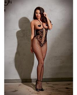 Open Cup Bodystocking Black