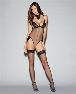 Lace Trimmed Fishnet Teddy Bodystocking w/Adjustable Straps, Thgh Hghs and Attchd Grtrs Black