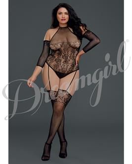 Floral Netted Teddy Bodystocking w/Attached Thigh Highs Black