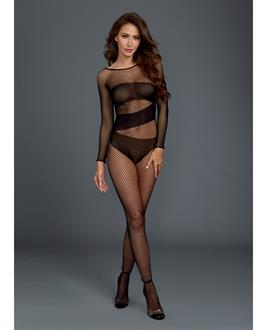 Stretch Fishnet Long Sleeved Bodystocking, Worn On or Off the Shoulder Black