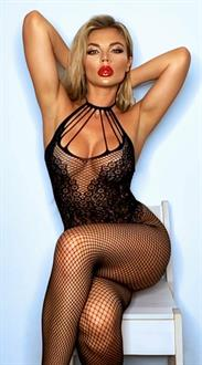 Fishnet Bodystocking w/Knitted Teddy Design Black