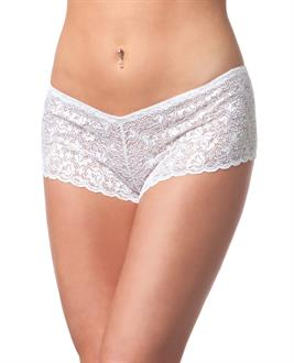 Low Rise Stretch Scallop Lace Booty Short White