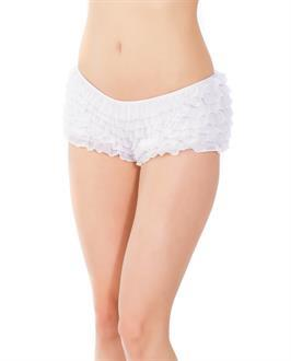 Ruffle Shorts w/Back Bow Detai White