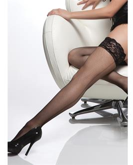 Fishnet Stay Up Silicone Lace Top Thigh High w/Back Seam Black