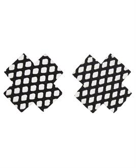 Fishnet Cross Pasties (One Time Use) - Black