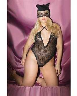 Fashion Stretch Lace Kitty Teddy and Mask Black