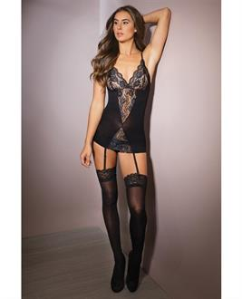 Sleek Stretch Lace Chemise w/Garters and Stockings Black