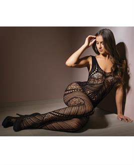 Sleek Seamless Stretch Net Patchwork Print Bodystocking Black