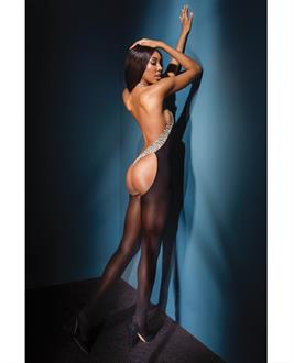 Sleek Sheer Nylon Halter Style Bodystocking w/Cutout Thong Back Black/Leopard