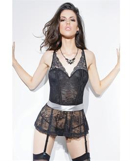 Spellbound Stretch Lace Peplum Corset w/Removable Ribbon Belt and Garters Black/Silver
