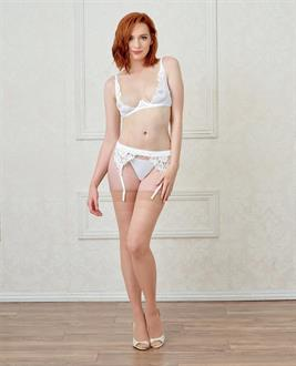 Underwire Open Cup Mesh and Satin Shelf Bra w/Lace Trim, Adjustable Straps and Hooks White