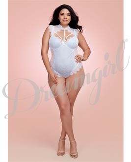 Stretch Satin Teddy White/ Powder Blue