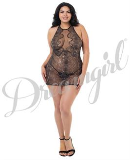 Sheer Stretch Mesh Chemise w/Plugne Front Panel, Adjustble Strapping, Low Back Black