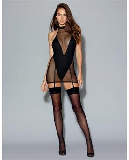 Two Layer Garment, Fishnet Halter Chemise w/Attch. Microfiber Teddy Black