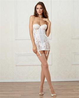 Stretch Satin Lace Chemise w/Attch Faux-Pearl Collar, Underwire Cups and Adjustable Gartrs White