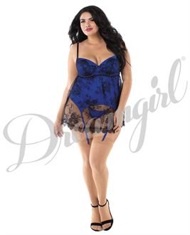 Stretch Satin Babydoll w/Lace Underwire Cups, Adjstble Straps and Thong Saphhire/Black