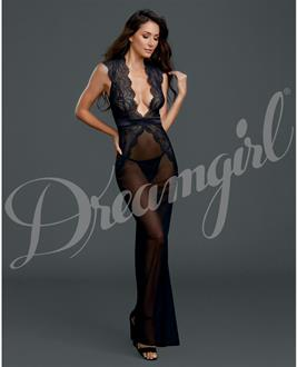 Sheer and Lace Gown w/G-String Black