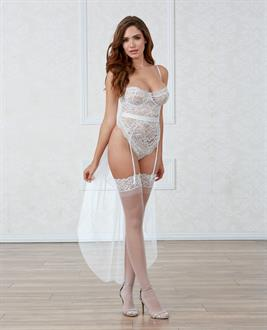 Stretch Lace  Snap Crotch Teddy w/Underwire Cups  and Bridal Belt Tulle Train White