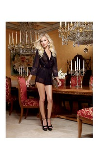 Chiffon and Stretch Lace Short Length Kimono Robe and Cheeky Panty