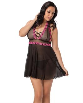 Halter Embroidered Babydoll
