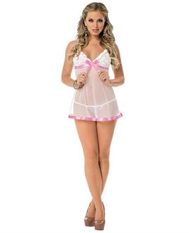 Sheer Chemise with Lace Cups and Panty