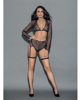 Euphoria Long Sleeve Lace and Mesh Top, Panty Garter and Hose Black